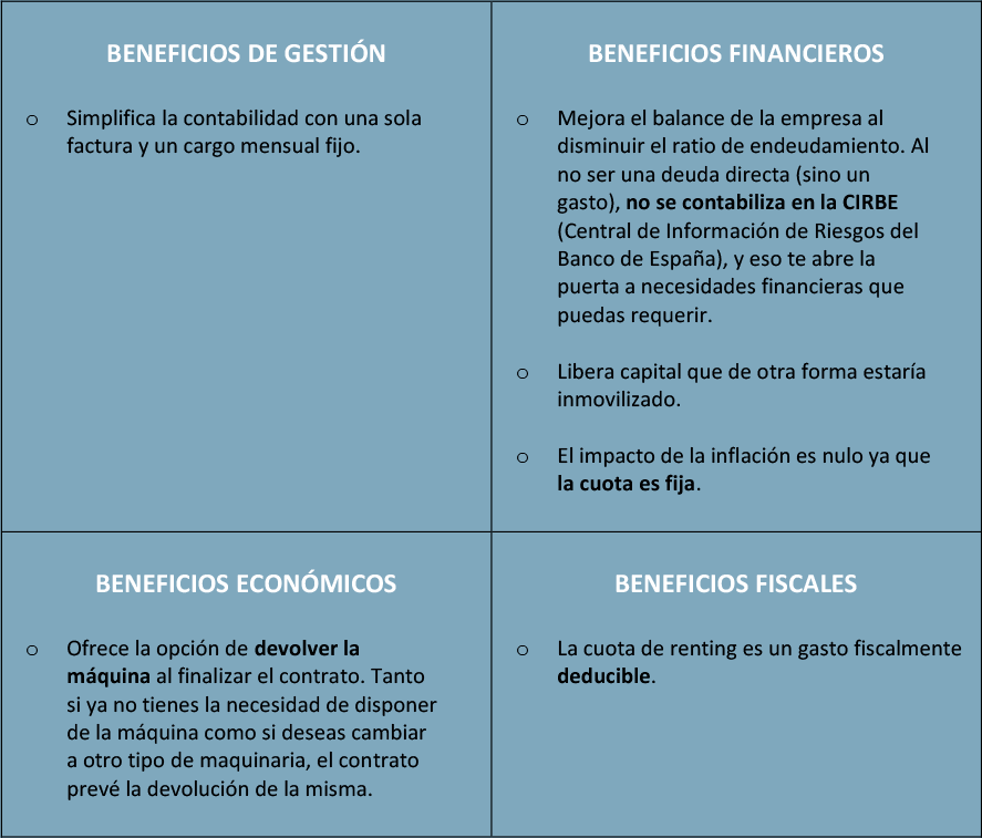Beneficios Renting Kiomac