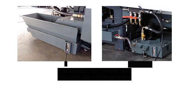 Depósitos de refrigerante traseros y delanteros en un centro de mecanizado Priminer